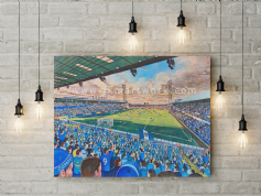 fratton park on matchday  canvas a3 size